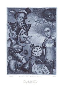 Exlibris by K. Antioukhin ALICE IN WONDERLAND Original Signed