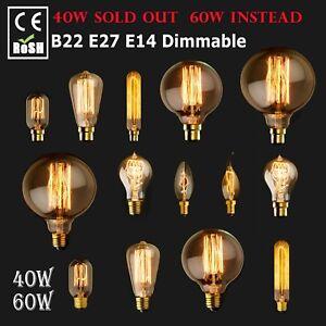 E27 B22 E14 Vintage Antique Style Bulbs Edison Industrial Filament Light Bulb