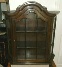 Vintage Walnut Finished One Door  Wall Mount Curio Cabinet