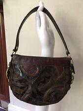 COACH Brown Mosaic Zoe Patchwork Shoulder Bag Handbag Purse Code 0873- 41886