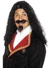 BLACK MUSKETEER WIG MENS AROUND THE WORLD FANCY DRESS LONG MEDIEVAL WIG