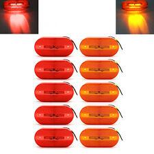5 Red + 5 Amber 12V 6 LED Rectangle Clearance Side Marker Lights Trailer Camper