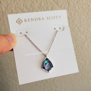 BNWT Authentic Kendra Scott Cory Pendant Necklace - Abalone Silver
