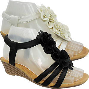 NEW WOMENS LADIES MID LOW WEDGE HEEL T BAR SLING BACK SUMMER SANDALS SHOES SIZE