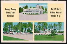 RALEIGH NC Humpty Dumpty Motel Restaurant Vtg Postcard