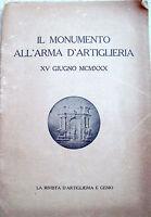 1930 MONUMENTO ALL'ARMA DI ARTIGLIERIA DI TORINO ILLUSTRATO