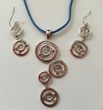 Lia Sophia Crystal Silver Circle Pendant earring set lot Blue Leather Necklace