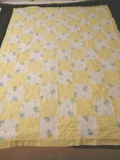 Vintage Baby Quilt/Blanket Hand Made Stitched 39''x51'&# 039; 1940's Fabric Patchwork