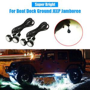4x LED Rock Lights Under Trail Rig Reverse For Boat Dock Ground JEEP Jamboree
