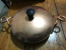 "VINTAGE 1959 WEAREVER 2107 ALUMINUM HALLITE COPPER 7"" PAN WITH LID CURLY HANDLE"