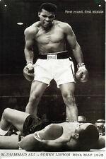 Large Muhammad Ali Tin Plaque Boxer Sonny Liston Greatest World Champion USA Cup