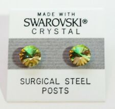 9mm Small Yellow Green Crystal Circle Stud Earrings Made with SWAROVSKI ELEMENTS