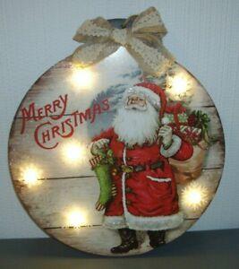 LIGHT UP VICTORIAN CHRISTMAS SANTA PLAQUE