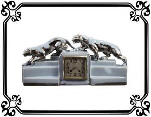 French Art Deco Odyv Blue Clock Panther Lion