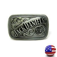 Vintage Mens Metal Belt Buckle Jack Daniels No.7 Retro Western Cowboy Jewelry
