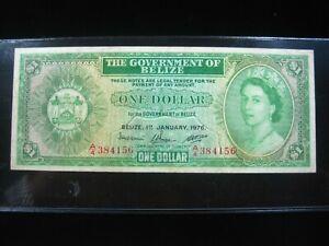 BELIZE $1 DOLLAR 1976 P33c BRITISH ELIZABETH II  4156# CURRENCY BANKNOTE MONEY