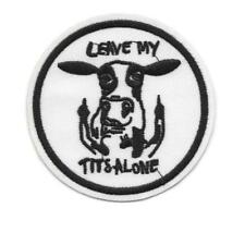"LEAVE MY TITS ALONE IRON ON PATCH 3.25"" Funny Dairy Cow Middle Finger Applique"
