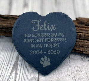 Personalised Quote Pet Cat Heart Slate Gravestone Memorial Plaque Grave Marker