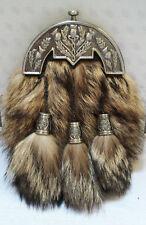 Scottish Kilt Original Fox Fur Full Dress Sporran Antique Chrome Enameled Cantel