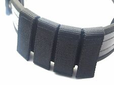 4 POLICE SECURITY GUARD BLACK NYLON DUTY BELT KEEPERS HOOK & LOOP FIT BELTS 2 ""