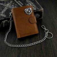 Men's Genuine Leather Snap Card/Money Skull Biker Wallet with Safe key Chain