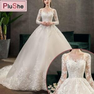 Women Elegant Leaf Appliques Princess Luxury Lace  Long Sleeves Wedding Dress