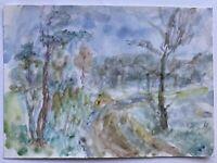 Landschaft mit Weg und Bäumen Noddeutschland Expressiv Aquarell