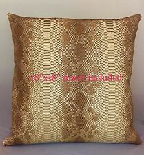 2 pieces Caramel snake vinyl faux fake pillow 18x18 w/ zipper 2 insert Included