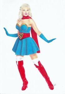 SUPERGIRL Bombshells Superman Superboy PIN-UP SEXY ORIGINAL ART dc batman harley