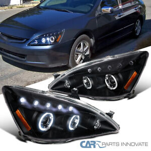 For 03-07 Honda Accord 2/4Dr Black LED Halo Projector Headlights Lamp Left+Right