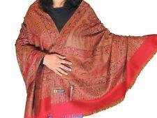 "Burgundy Wool Embroidered Shawl Kashmir Evening Dress Wrap Winter Big Scarf 80"""