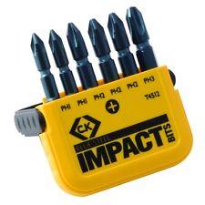"CK Tools T4512 Impact Set OF 6 x Phillips (PH) 50mm (2"") Long Screwdriver Bits"