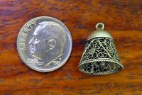 Vintage silver PORTUGAL PORTUGUESE FILIGREE BELL CHRISTMAS WEDDING MOVABLE charm