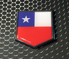 "Chile Flag Domed CHROME Emblem Proud Flag Car 3D Sticker 2""x 2.25"""