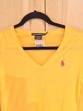 NEW RALPH LAUREN POLO V NECK T SHIRT YELLOW LONG SLEEVE PINK PONY  S / SMALL