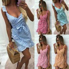 UK Womens Girls Holiday Strappy Mini Dresses Summer Beach Plaids Sun Dress Skrit