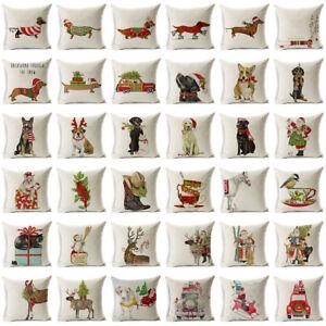 """18"""" Xmas Dog Cotton Linen Pillow Case Cushion Cover Throw Home Decor Gift"""