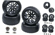 Hobbypark (4-Pack) 1/10 Scale Off Road Buggy Tires & Wheel Rims Set Front and