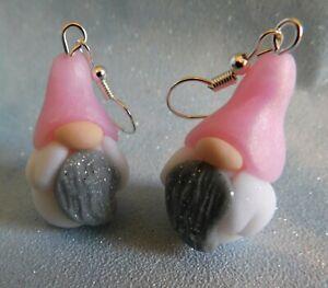 Pink Glittery Gnome Earrings, New, Handmade, Stocking Filler Novelty Gift, gonk