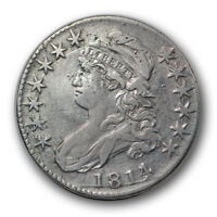 1814/3 50C Capped Bust Half Dollar Very Fine to Extra Fine Damaged R1054