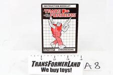 Chromedome Instructions Headmasters 1987 Vintage Hasbro G1 Transformers