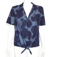 EQUIPMENT FEMME Womens Blue Short Sleeve Button Down Blouse Heart Print M /4112
