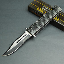 """9"""" Black Stonewashed Finish Spring Assisted Tactical Rescue Combat Knife New!"""