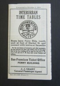 Old Vintage 1939 Northwestern Pacific Railroad - INTERURBAN - Pocket Time Tables