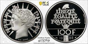 1988 100 FRANCS FRANCE (SILVER) GAD-903 PCGS PR69DCAM #42757631 GREAT EYE APPEAL