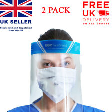 2 x Full Face Shield Visor Guard Reusable Plastic Safety Mask