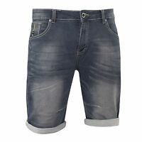 Mens Denim Short Summer Designer Firetrap Holton Turn Up Denim Knee Length Pants