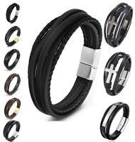 Deluxe Leder-Armband Wickel 6 Reihig geflochten Edelstahl Echtleder Herren Damen