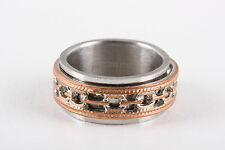 STAINLESS STEEL BAND RING W/ COPPER COLOR SPINNER FASHION 0999