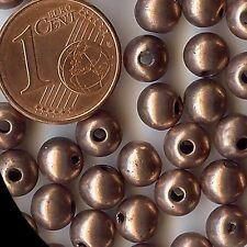 255601*40 perles 6mm résine métallisée cuivrée -- x40